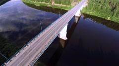 Empty concrete bridge - aerial view Stock Footage