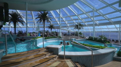 Indoor pool deck in the cruise ship - Anthem of the seas. Stock Footage