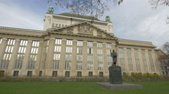 View of statue of Frane Bulic and Croatian State Archives in Zagreb - stock footage