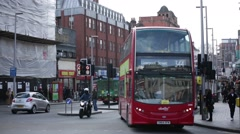 Clapham junction traffic: double decker bus, London, England, Europe - stock footage