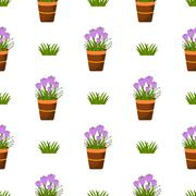 Happy Easter Seamless Pattern. Flat Icons Spring Holiday Concept - stock illustration