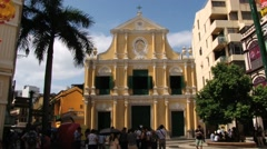 Old church at the historical Senate square in Macau, China. Stock Footage