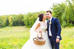 Happy bride and groom in the fresh air Stock Photos