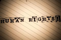 Human rights text on paper in retro style Stock Photos