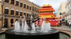 Fountain at the Senate square in the historical part of Macau, China. Stock Footage