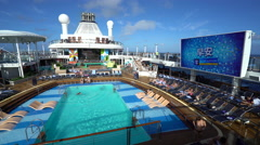 Swimming pools or pool deck on the cruise ship - Anthem of the seas Stock Footage
