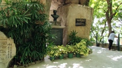 Bust to the famous Portugues poet Luis de Camoes in Macau, China. Stock Footage