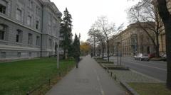People walking near Mimara Museum on Vjekoslava Klaica street, Zagreb Stock Footage