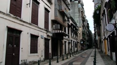 View to the old buildings in a historical quarter in Macau, China. Stock Footage
