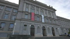 View of people entering Mimara Museum in Zagreb, Croatia Stock Footage