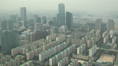 Business district and residential apartment buildings in Southern Seoul Stock Footage