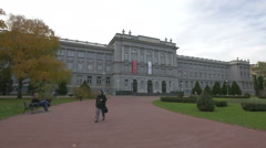 View of Mimara Museum on a cloudy day, Zagreb Stock Footage