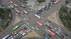 Square intersection, busy rush hour traffic, Gangnam district Seoul South Korea Stock Footage