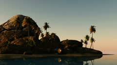 beach seascape view with a big stones and palmtree at sunset - stock footage