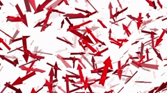 Rotating arrows in red on white Stock Footage
