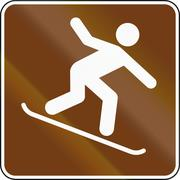 United States MUTCD guide road sign - Snowboarding - stock illustration