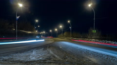 timelapse city at night with the lights from cars - stock footage