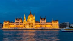 Hungarian Parliament timelapse at night, Budapest, Hungary, 4K Time lapse Stock Footage