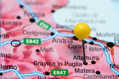 Gravina in Puglia pinned on a map of Italy - stock photo