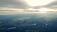 Aerial view of sunset over German lakes and nature, Germany Stock Footage