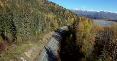 Alaska Autumn Mountain Hwy RV Road Trip Follow Aerial 4K Stock Footage