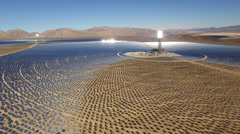 aerial shot of solar power plant - solar farm, Nevada - stock footage
