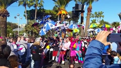 Participants in the Carnival Parade in Nice. Carnaval de Nice 2016 Stock Footage
