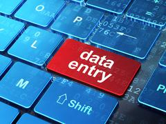 Information concept: Data Entry on computer keyboard background - stock illustration