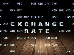 Currency concept: Exchange Rate in grunge dark room - stock illustration