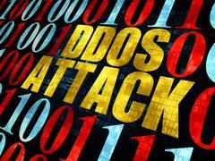 Security concept: DDOS Attack on Digital background - stock illustration