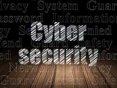 Security concept: Cyber Security in grunge dark room - stock illustration