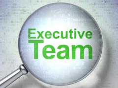 Finance concept: Executive Team with optical glass Stock Illustration