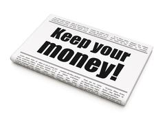 Business concept: newspaper headline Keep Your Money! Stock Illustration