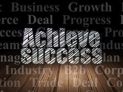 Business concept: Achieve Success in grunge dark room - stock illustration