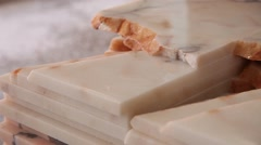 Stacked marble stones  after being cut, slider shot Stock Footage