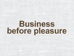 Finance concept: Business Before pleasure on fabric texture background - stock illustration