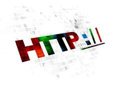 Web design concept: Http : / / on Digital background - stock illustration
