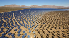 Aerial shot of solar energy farm - solar panels, Nevada Stock Footage
