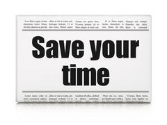 Timeline concept: newspaper headline Save Your Time Stock Illustration