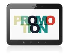 Marketing concept: Tablet Computer with Promotion on  display - stock illustration