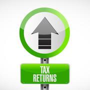 tax returns road sign concept illustration - stock illustration