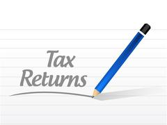 tax returns message sign concept - stock illustration