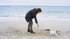 Young man throw ring toy to his dog on the beach slow motion Stock Footage