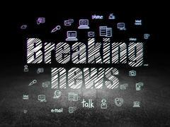 News concept: Breaking News in grunge dark room - stock illustration