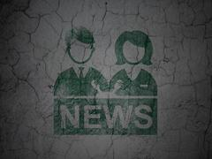 News concept: Anchorman on grunge wall background Piirros