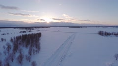 Winter landscape. Aerial footage. Road covered with snow. Stock Footage