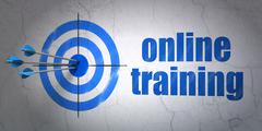 Stock Illustration of Studying concept: target and Online Training on wall background