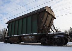 Stock Photo of The last car of a freight train
