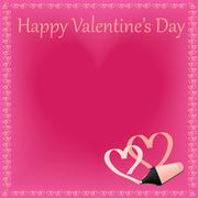 Beautiful Happy Valentines Day concept with hanging heart shapes on shiny pin - stock illustration