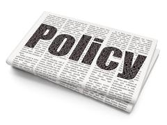 Stock Illustration of Insurance concept: Policy on Newspaper background